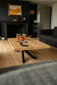 Table basse design Mikado en acier et chêne massif / 140 x 80 x H 41 cm / ARTMETA