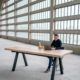 Table Pi / 240 x 110 x H 90 cm / 2 Plateaux en chêne authentique massif et pied noir charbon / Fabrication sur mesure ARTMETA