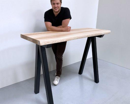 Table mange debout en acier et bois massif / 150 x P 60 x H 110 cm / modèle Aubier ARTMETA