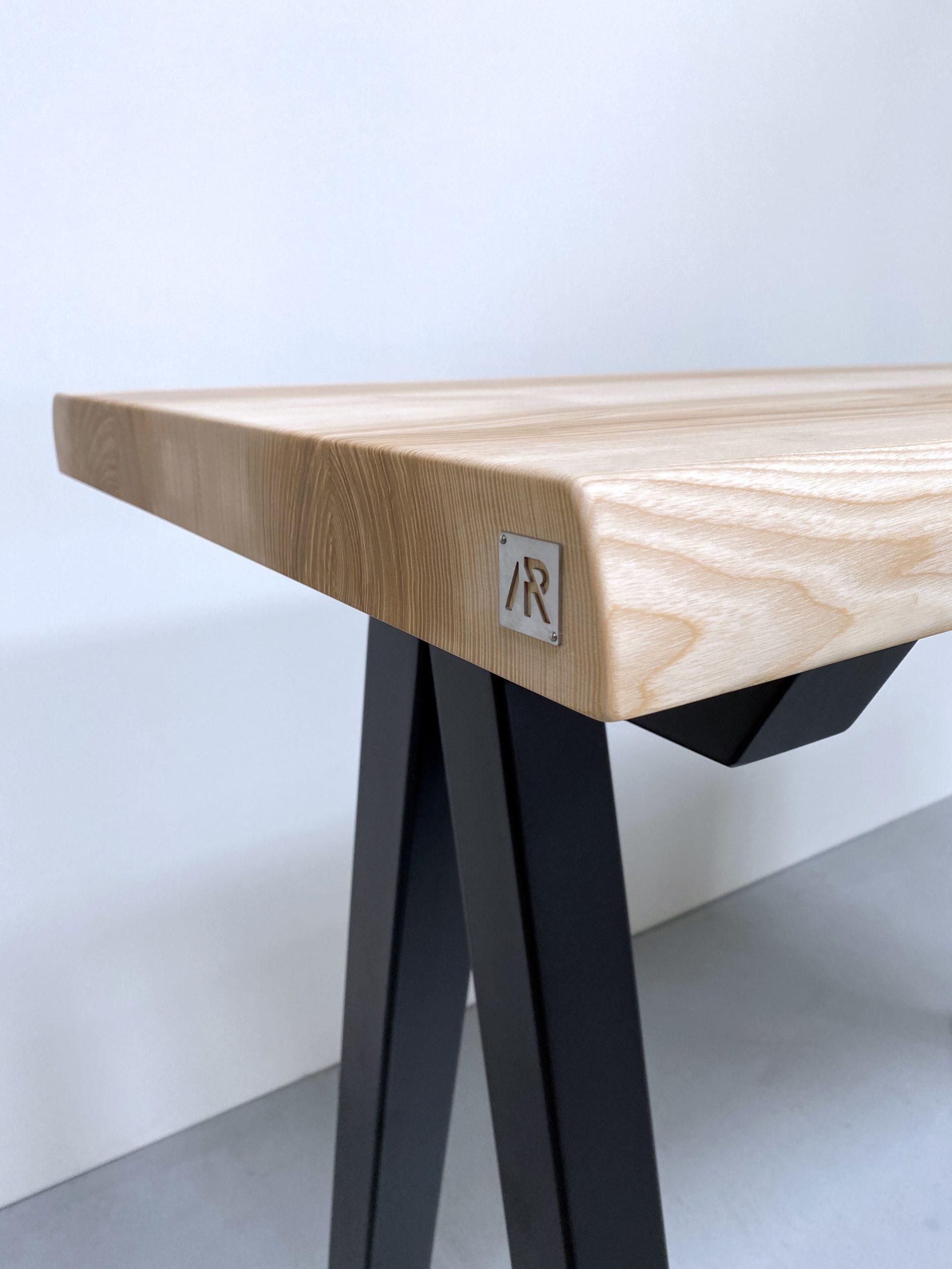 Table mange debout en acier et bois massif / modèle Aubier ARTMETA