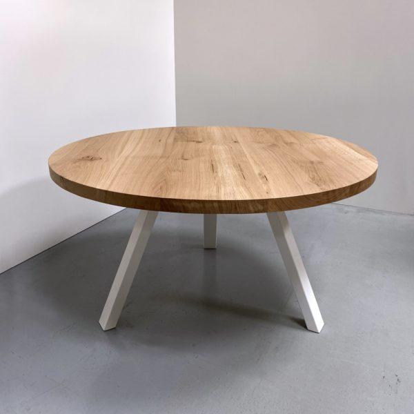Table ronde bois et metal Delta/ chêne authentique pied blanc / Diamètre 140 cm / ARTMETA