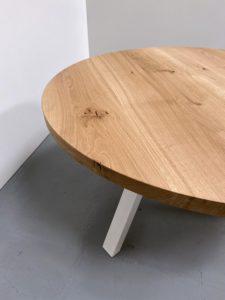 Table ronde bois et metal Delta / chêne authentique pied blanc / Diamètre 140 cm / ARTMETA