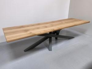 Table Mikado / acier et chêne massif / ARTMETA