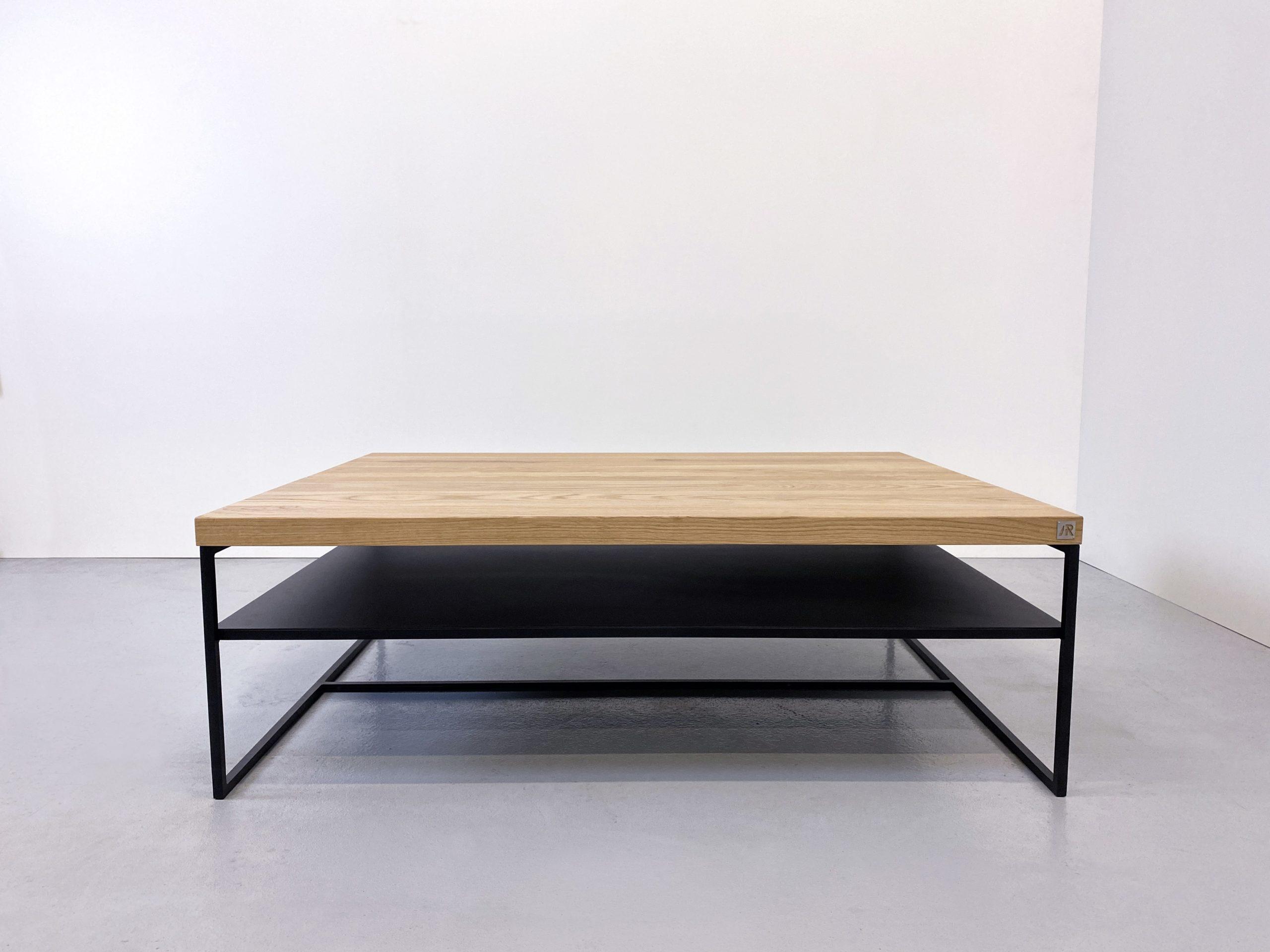 Table basse Aiguille double plateau en acier et bois massif / fabrication sur mesure ARTMETA