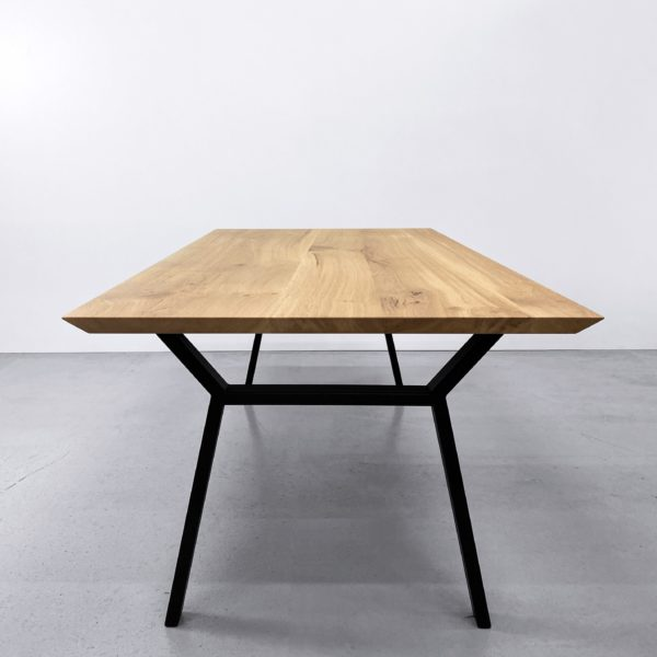 Table bois pied metal Hameau / 200 x 100 x H 75 cm / chêne authentique massif / fabrication sur mesure ARTMETA