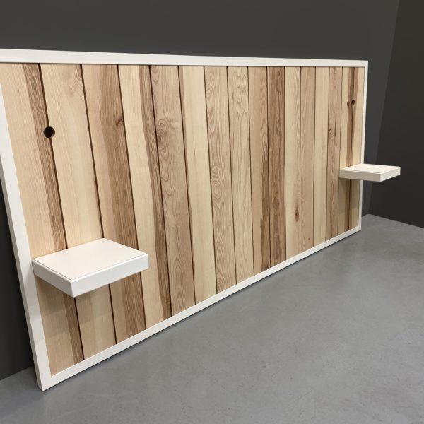Tête de lit avec chevets suspendus / Modèle Ouessant / Acier et bois massif / Fabrication artisanale française et sur mesure / ARTMETA