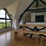 Table à manger Mikado / 220 x 100 x H 75 cm / Frêne olivier massif et pied acier