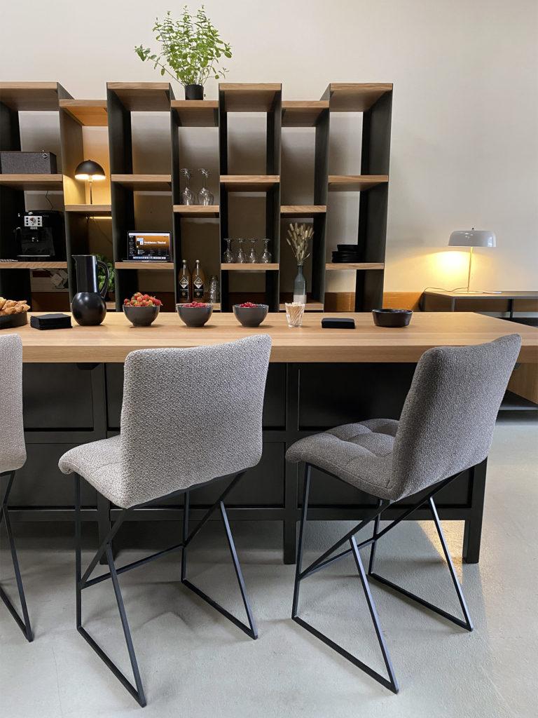 Ilot de cuisine en métal et bois massif / Fabrication artisanale et sur mesure / ARTMETA