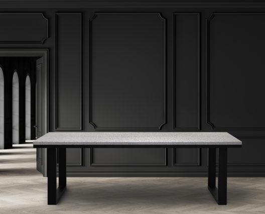 """Table terrazzo """"Urbaine"""" / 240 x 100 x H 75 cm / Piétement en acier noir charbon / Fabrication artisanale française et sur mesure / ARTMETA"""